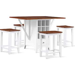 Porter Counter-Height Island and 4 Backless Stools Set - Cherry