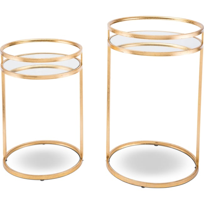 Accent and Occasional Furniture - Set of 2 Nesting Tables - Gold