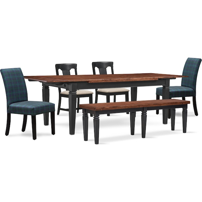 The Adler Extendable Table From Iq Furniture: Adler Dining Table, 2 Side Chairs, 2 Upholstered Side