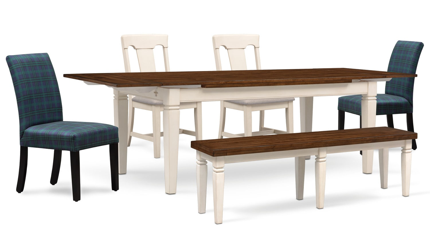 Dining Room Furniture - Adler Dining Table, 2 Side Chairs, 2 Upholstered Side Chairs and Bench - White and Plaid