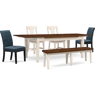 Adler Dining Table, 2 Side Chairs, 2 Upholstered Side Chairs and Bench - White and Plaid