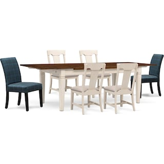 Adler Dining Table, 4 Side Chairs, and 2 Upholstered Side Chairs - White and Plaid