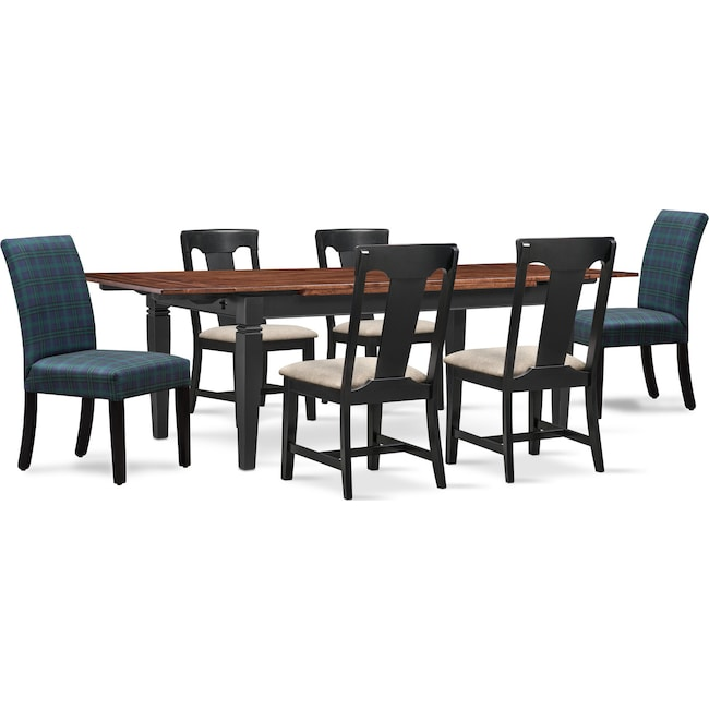 Dining Room Furniture - Adler Dining Table, 4 Side Chairs, and 2 Upholstered Side Chairs - Black and Plaid