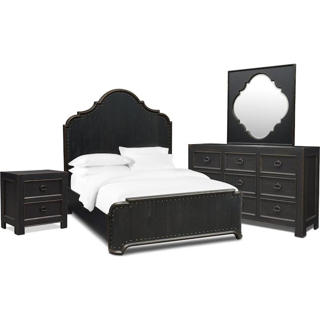 Bedroom Furniture - Lennon 6-Piece Bedroom Set with Nightstand, Dresser and Mirror