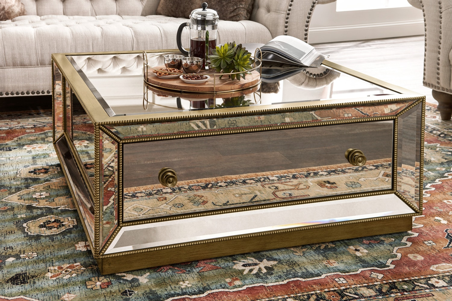 Reflection Coffee Table Antiqued Mirror American