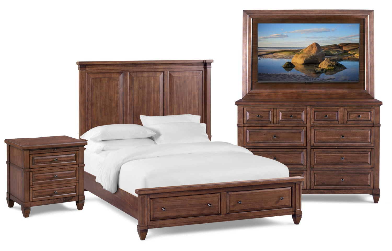 Bedroom Furniture - Rosalie 6-Piece Storage Bedroom Set with Nightstand, Dresser and TV Mount