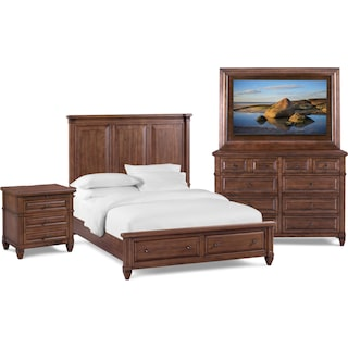 Rosalie 6-Piece Queen Storage Bedroom Set with TV Mount - Chestnut