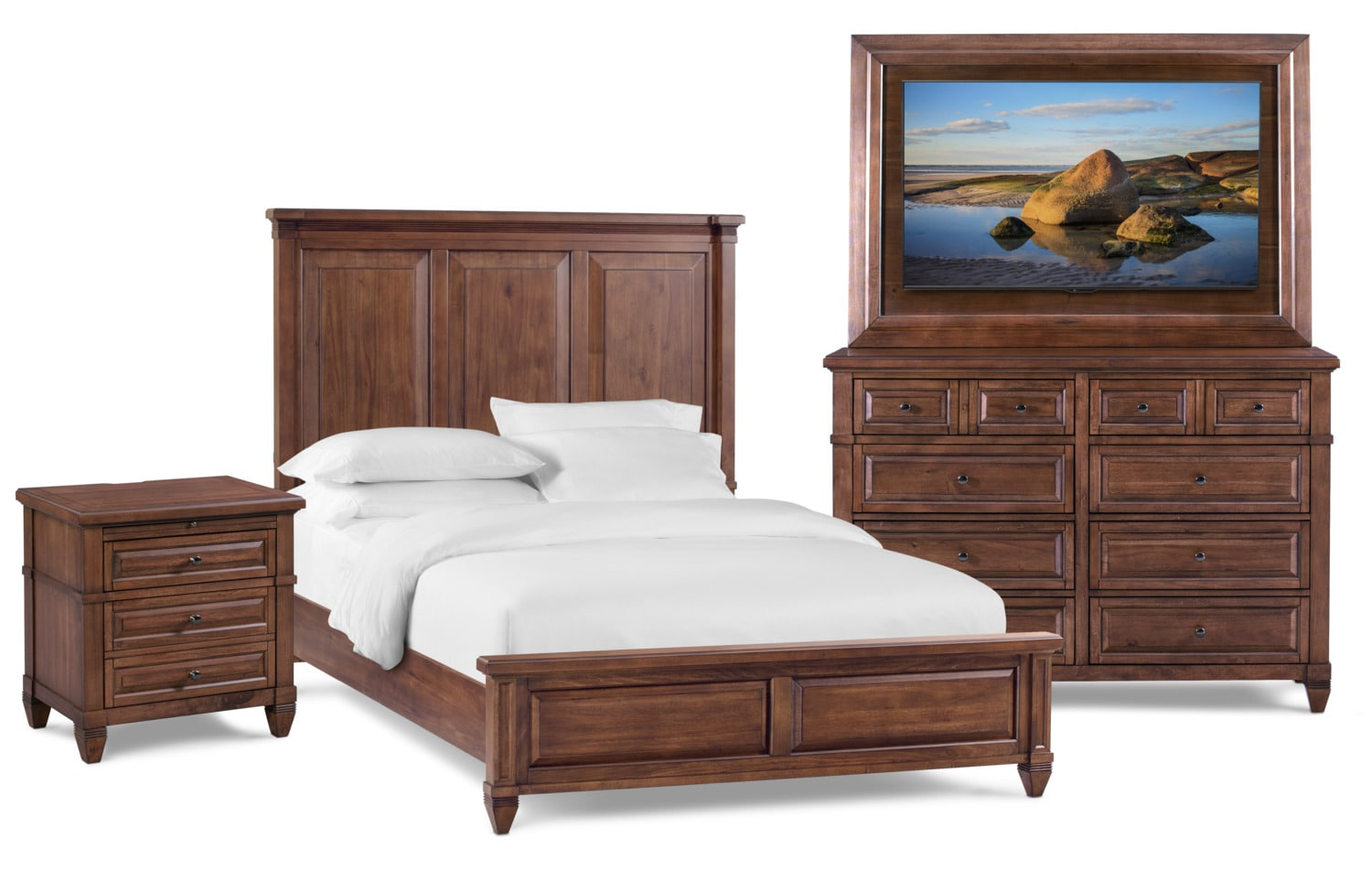 Bedroom Furniture - Rosalie 6-Piece Bedroom Set with TV Mount, Dresser and Mirror