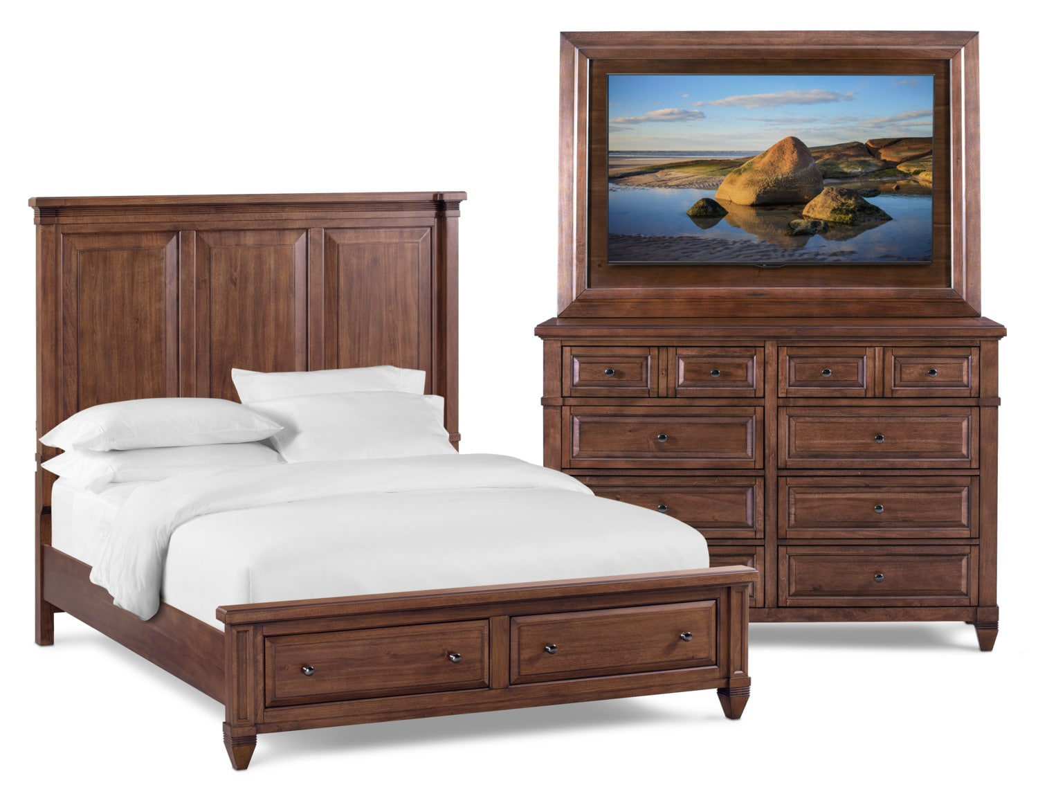Bedroom Furniture - Rosalie 5-Piece Storage Bedroom Set with Dresser and TV Mount