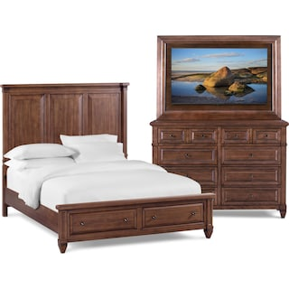 Rosalie 5-Piece Queen Storage Bedroom Set with TV Mount - Chestnut