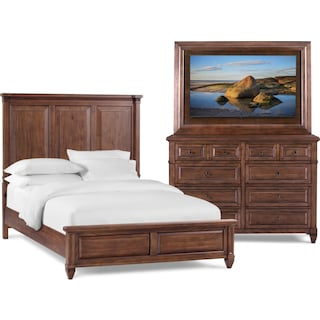 Rosalie 5-Piece Queen Bedroom Set with TV Mount - Chestnut