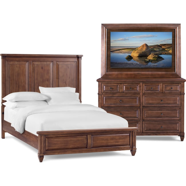 Rosalie 5 Piece Queen Bedroom Set With Tv Mount Chestnut