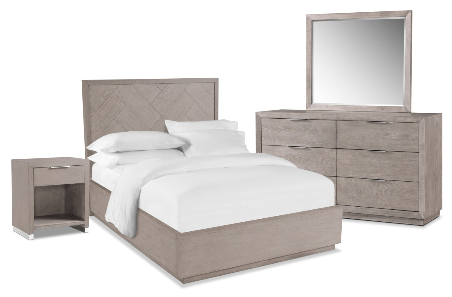 Bedroom Furniture - Zen 6-Piece Bedroom Set with Nightstand, Dresser and Mirror