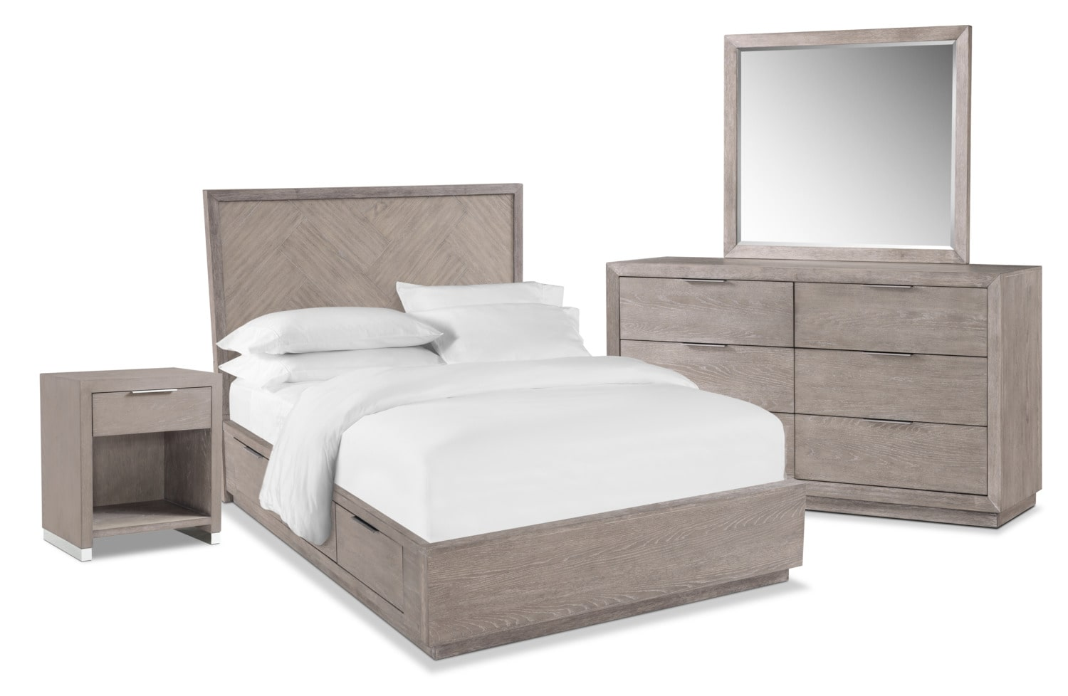Bedroom Furniture - Zen 6-Piece Storage Bedroom Set with Nightstand, Dresser and Mirror