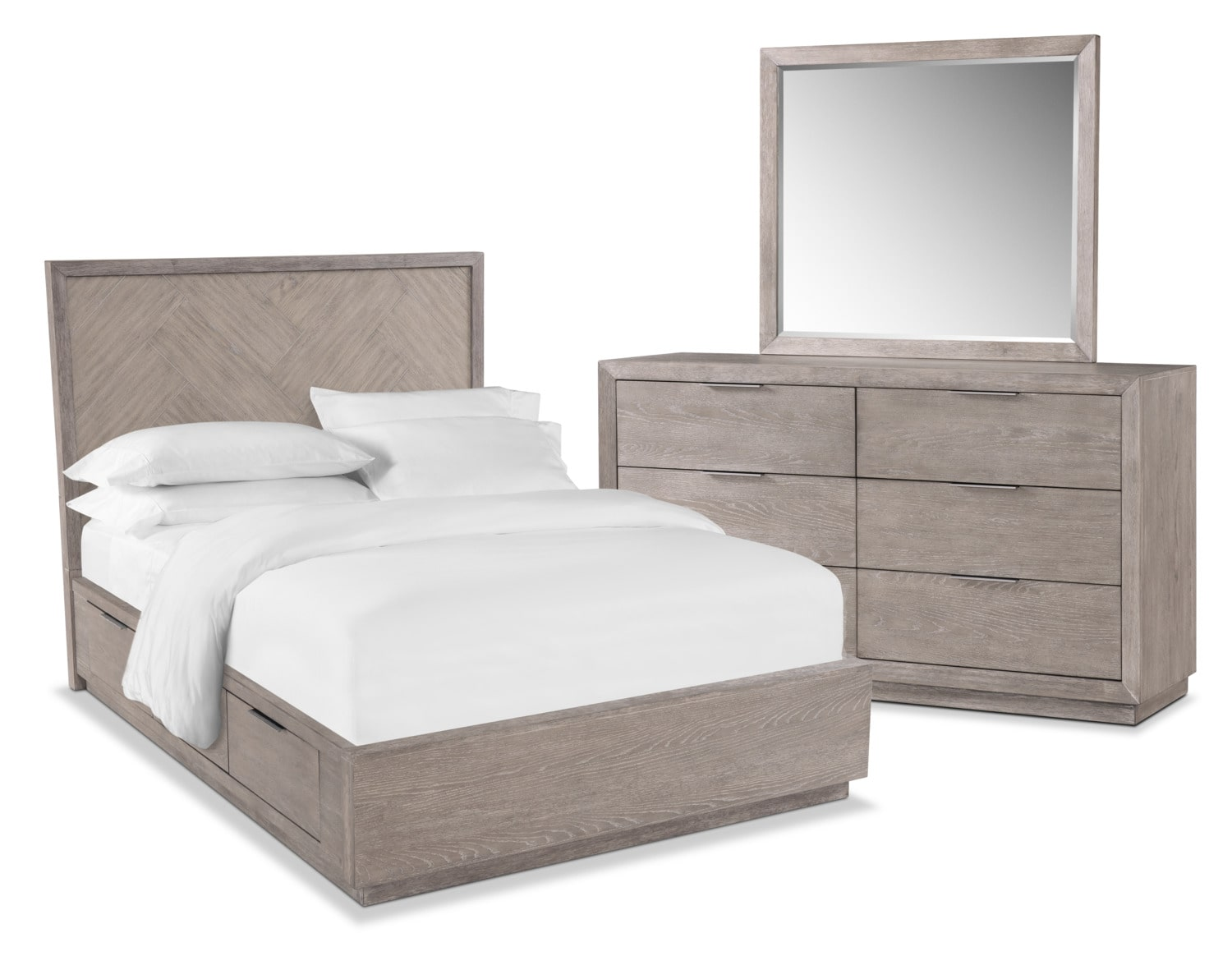 Bedroom Furniture - Zen 5-Piece Storage Bedroom Set with Dresser and Mirror