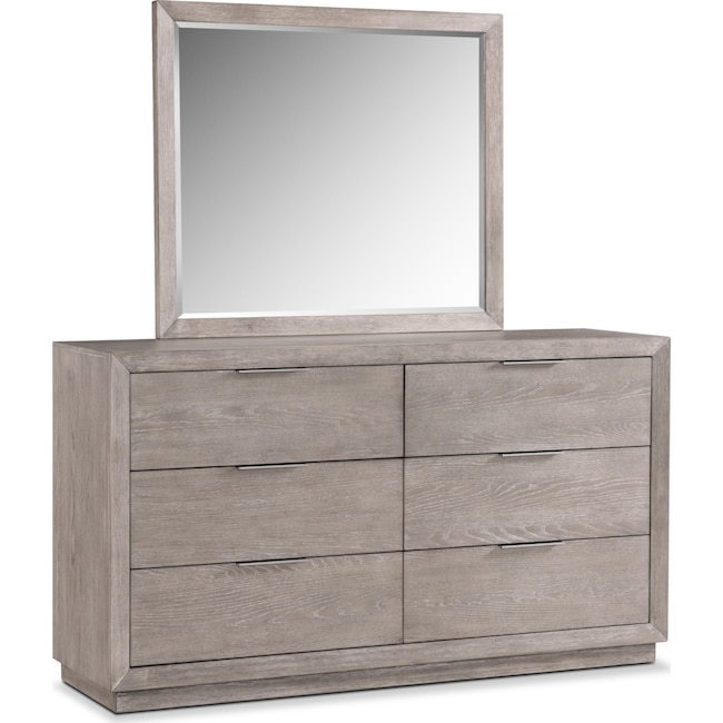 Bedroom Furniture - Zen Dresser and Mirror - Urban Gray