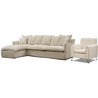 Reid 2-Piece Sectional with Left-Facing Chaise and Accent Chair - Beige