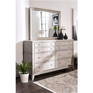 Hazel Dresser and Mirror - Water White