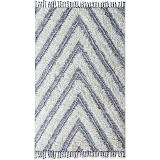 Estes Shag 8' x 10' Area Rug - Ivory and Black