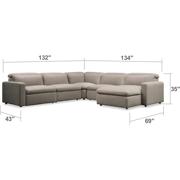 Living Room Furniture - Happy 5-Piece Dual Power Reclining Sectional with Right-Facing Chaise and 3 Reclining Seats - Shitak