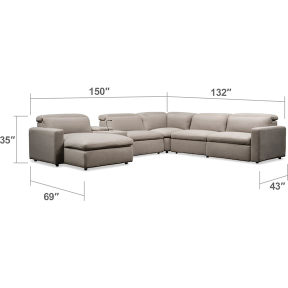 Living Room Furniture - Happy 6-Piece Dual-Power Reclining Sectional with Left-Facing Chaise and 2 Reclining Seats - Shitake