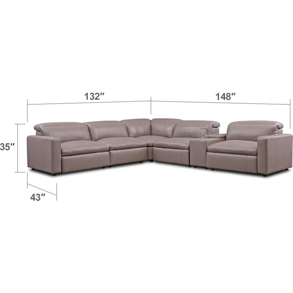 Living Room Furniture - Happy 6-Piece Dual Power Reclining Sectional
