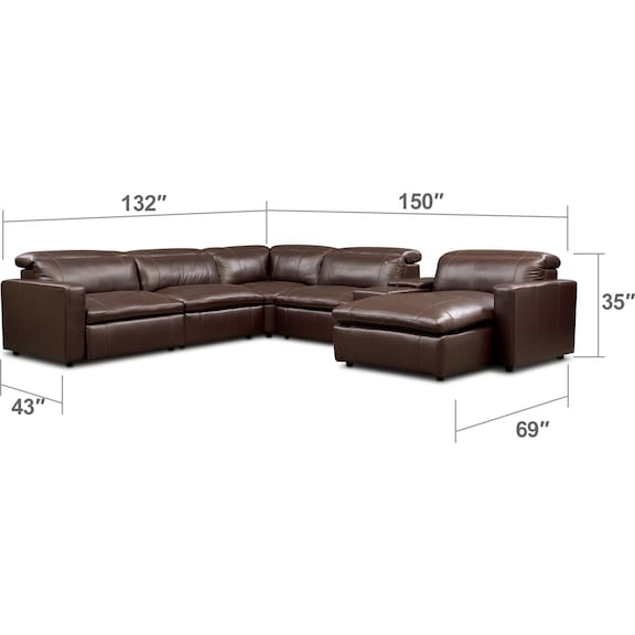 Living Room Furniture - Happy 6-Piece Dual Power Reclining Sectional with Chaise