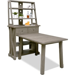 Maxton Counter-Height Table with Media Hutch - Graystone