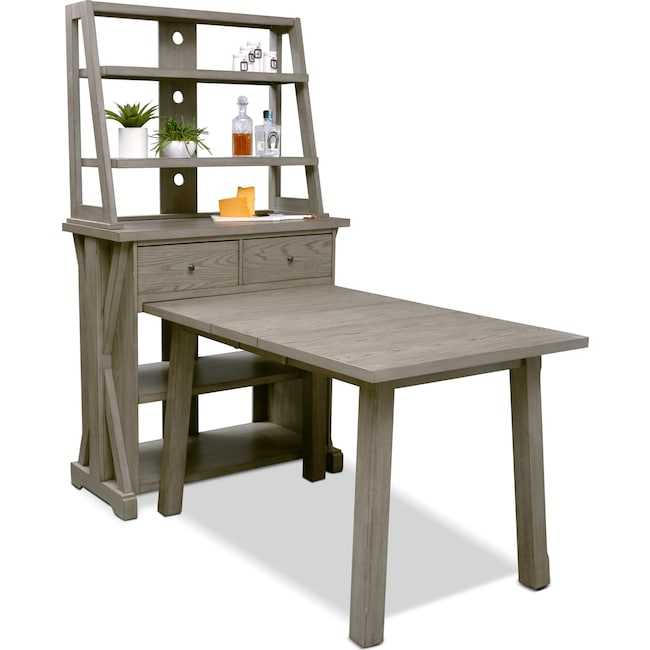 Dining Room Furniture - Maxton Counter-Height Table with Media Hutch - Graystone