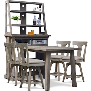 Maxton Counter-Height Table with Media Hutch and 4 Stools - Graystone