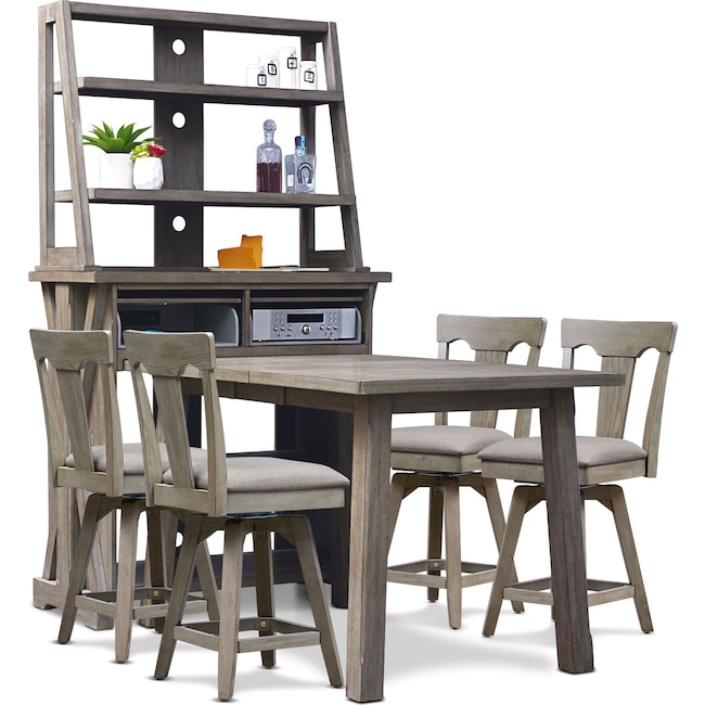 Dining Room Furniture - Maxton Counter-Height Table with Media Hutch and 4 Stools - Graystone