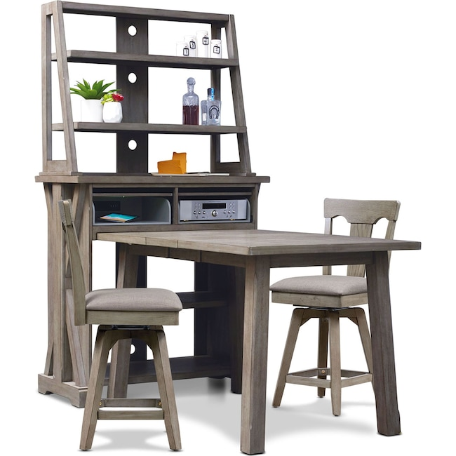 Dining Room Furniture - Maxton Counter-Height Table with Media Hutch and 2 Stools - Graystone