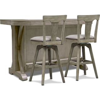 Maxton Bar and 2 Stools - Graystone