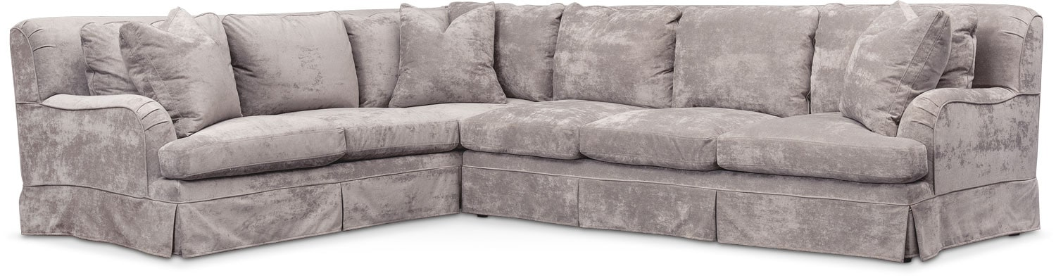 Living Room Furniture - Campbell Comfort 2-Piece Large Sectional with Right-Facing Sofa - Cement