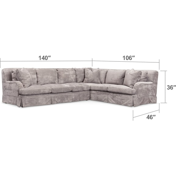 Living Room Furniture - Campbell 2-Piece Sectional with Sofa