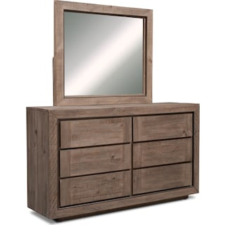 Henry Dresser and Mirror - Rustic Brown