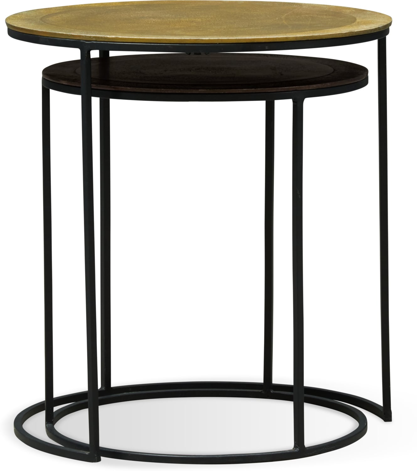 Accent and Occasional Furniture - Ezra Nesting End Tables - Metallic
