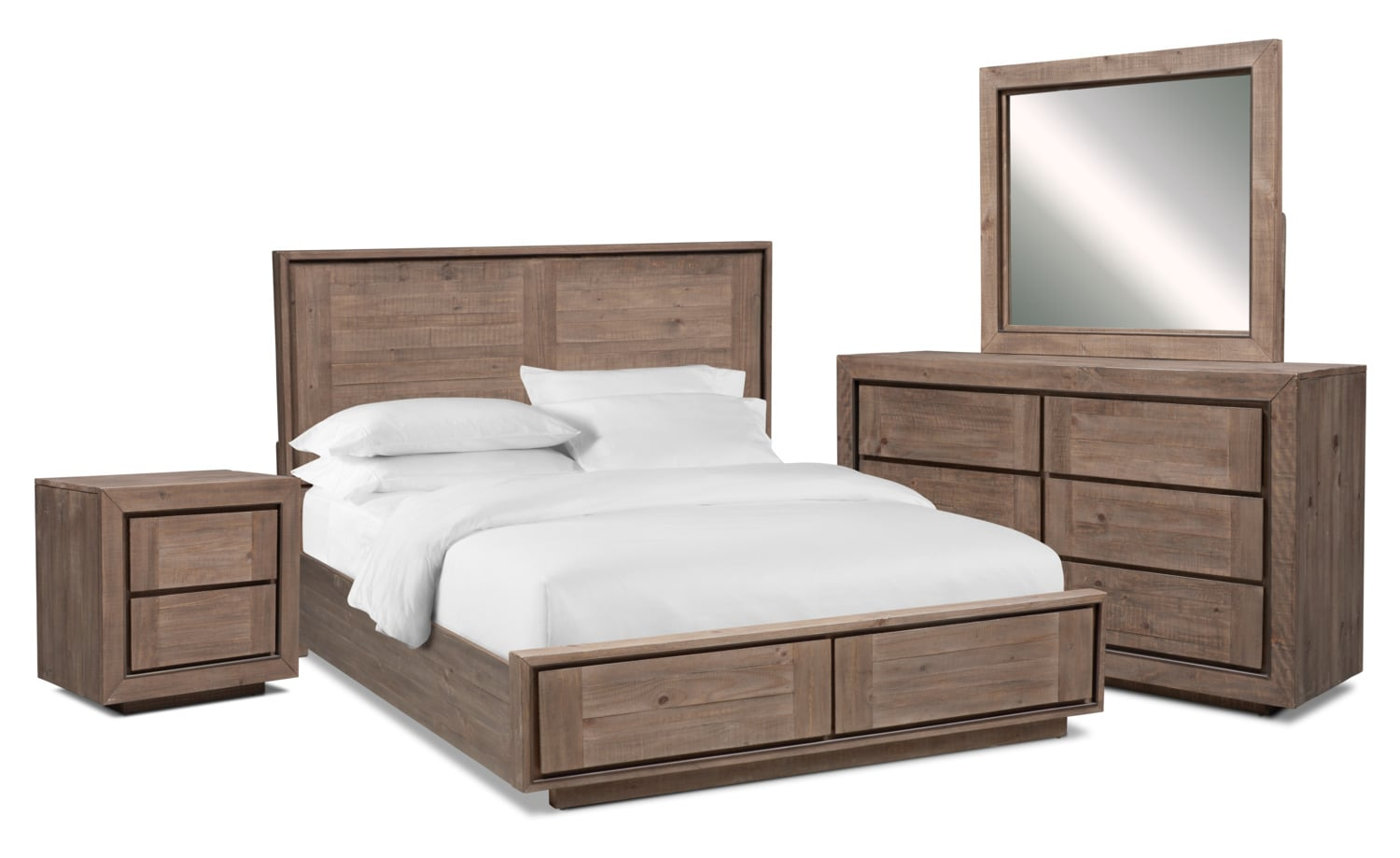 Bedroom Furniture - Henry 6-Piece Storage Bedroom Set with Nightstand, Dresser and Mirror