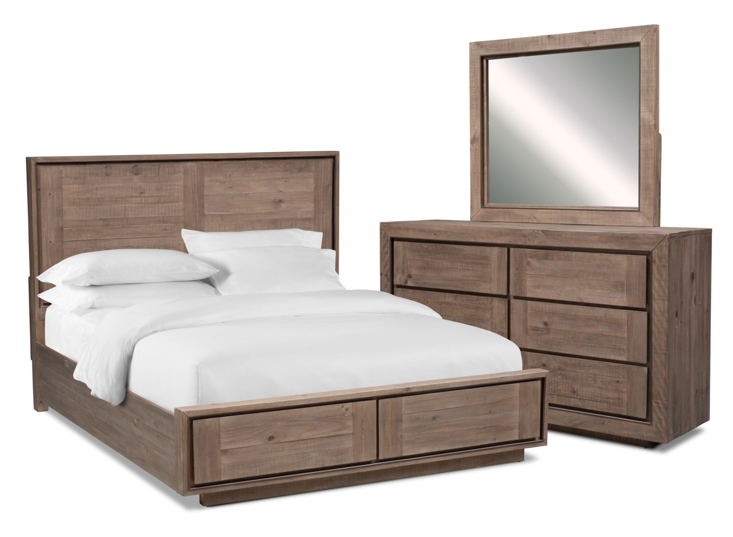 Henry 5 Piece King Storage Bedroom Set Rustic Brown American