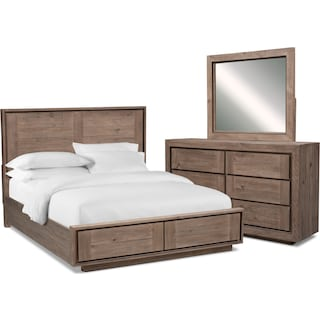 Henry 5-Piece Storage Bedroom Set with Dresser and Mirror