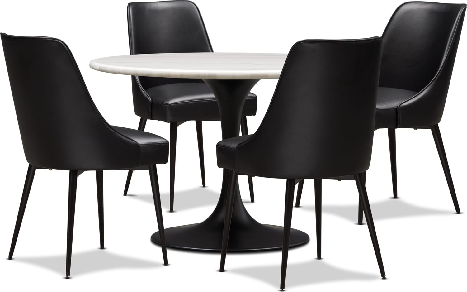 Dining Room Furniture - Lillian Marble Dining Table and 4 Upholstered Dining Chairs