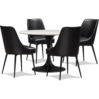Lillian Dining Table and 4 Upholstered Side Chairs - Black