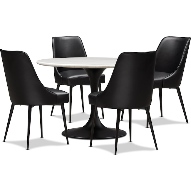 Dining Room Furniture - Lillian Dining Table and 4 Upholstered Side Chairs - Black