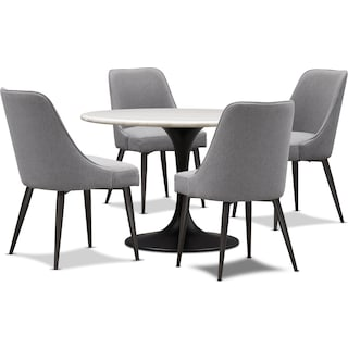 Lillian Dining Table and 4 Upholstered Side Chairs - Charcoal