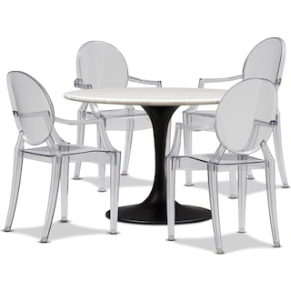 Lillian Dining Table and 4 Arm Chairs - Clear