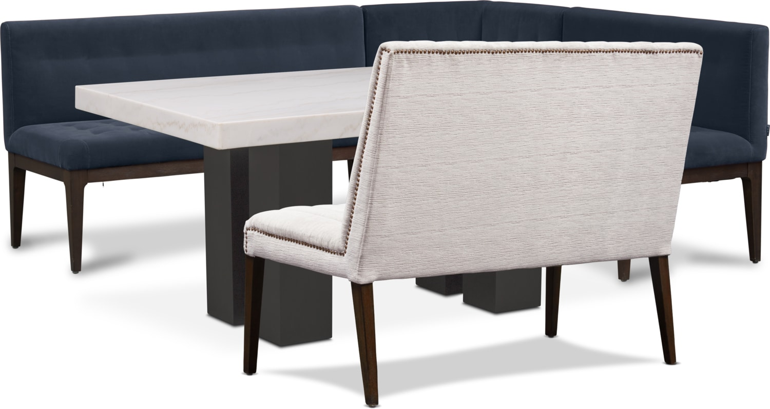 Dining Room Furniture - Artemis Dining Table, Corner Banquette, and Bench - Shadow/Oyster