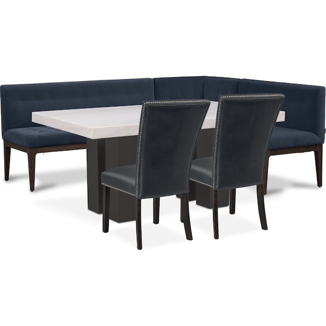 Dining Room Furniture - Artemis Dining Table, Corner Banquette, and 2 Upholstered Side Chairs