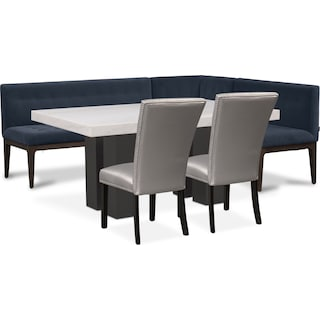 Artemis Dining Table, Corner Banquette, and 2 Upholstered Side Chairs