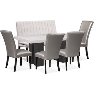 Artemis Dining Table, 4 Upholstered Side Chairs, and Bench