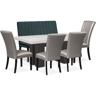 Artemis Dining Table, 4 Upholstered Side Chairs, and Bench - Gray/Teal